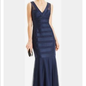 JSCollections Gown Satin & Mesh and Satin V-Neck